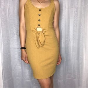 Mind Code mustard yellow bodycon cutout dress